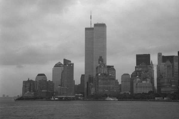 For reference: I took this picture in the last week of August 2001, from the Staten Island Ferry.