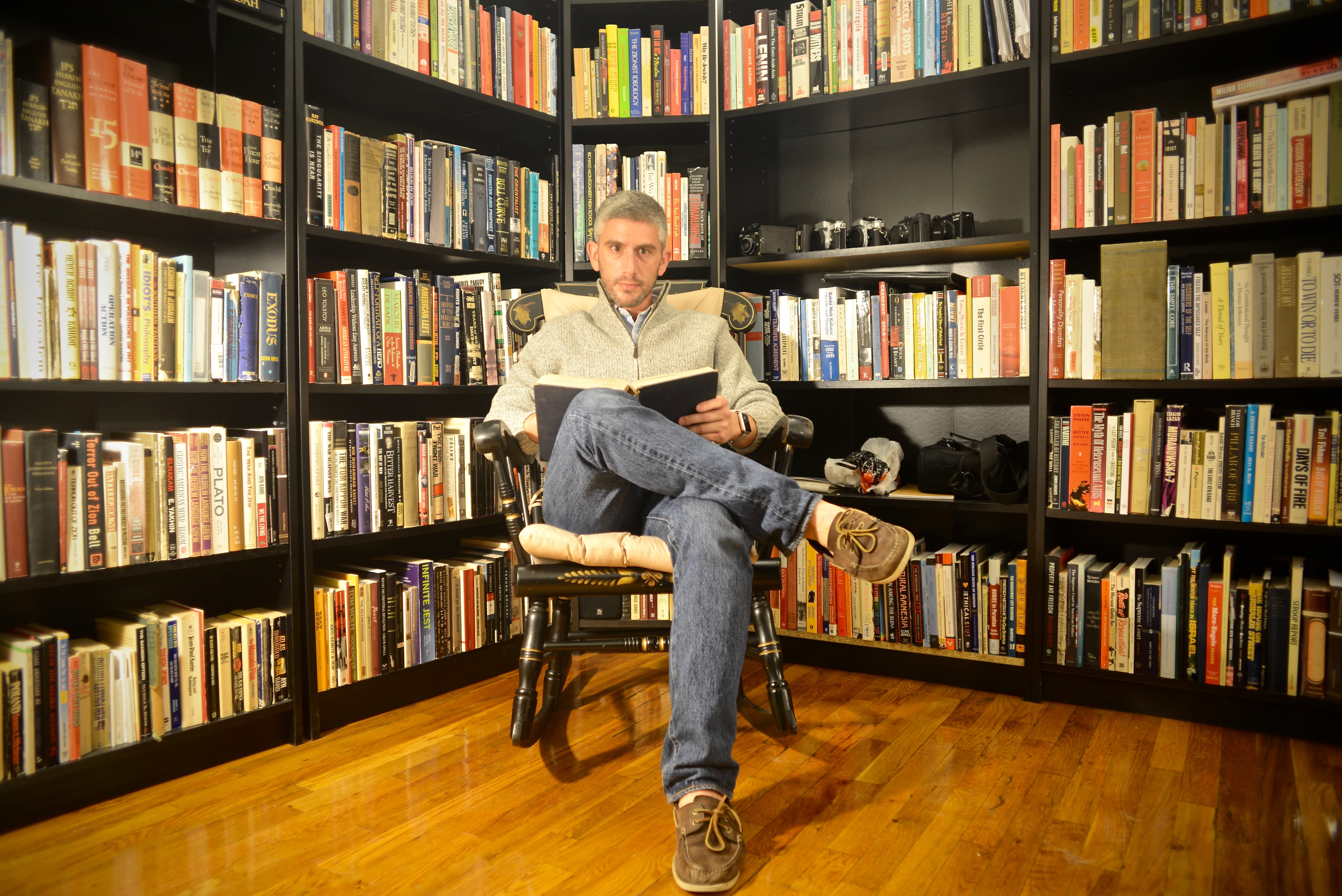 Natan Gesher in his grandfather's rocking chair, September 2016